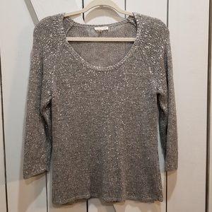 Eileen Fisher gray metallic sweater small